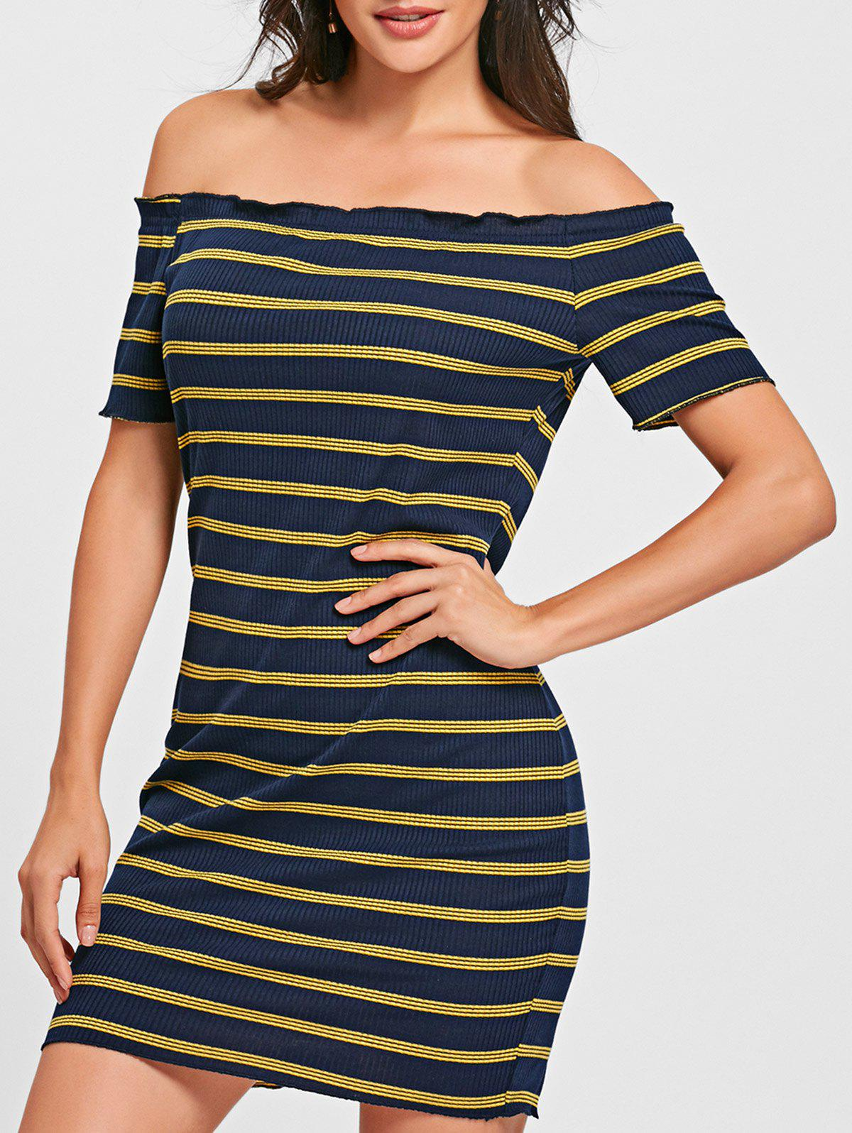 Off The Shoulder Striped Bodycon Dress - BLUE/YELLOW L