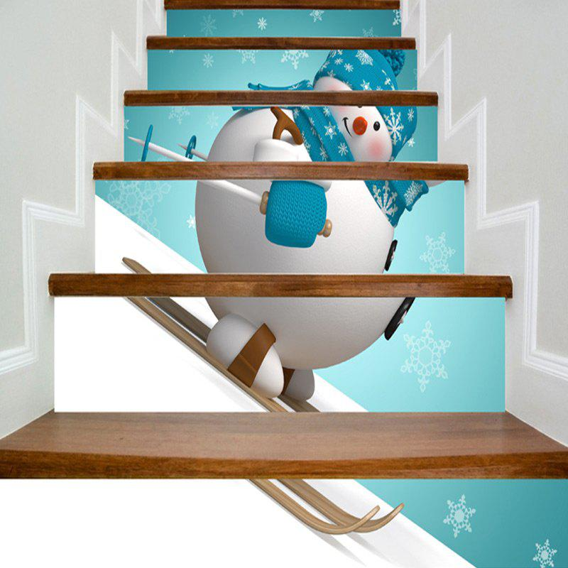 Christmas Skiing Snowman Print DIY Home Decor Stair Stickers christmas home decor snowman double table mat