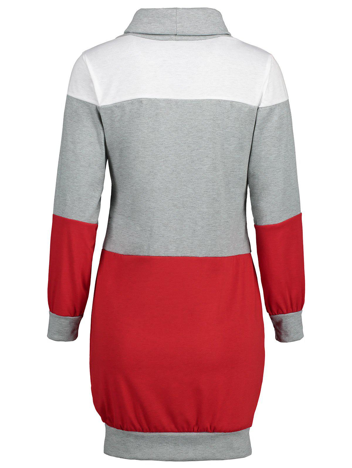 Color Block Turtleneck Bodycon Mini Dress - GRAY L