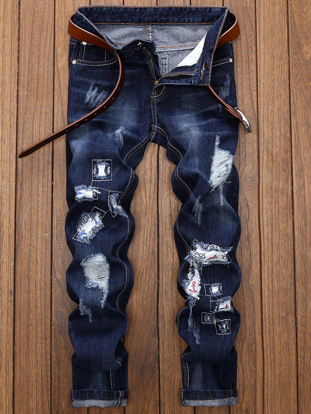 Straight Leg Applique Panel Distressed Jeans - DEEP BLUE 38