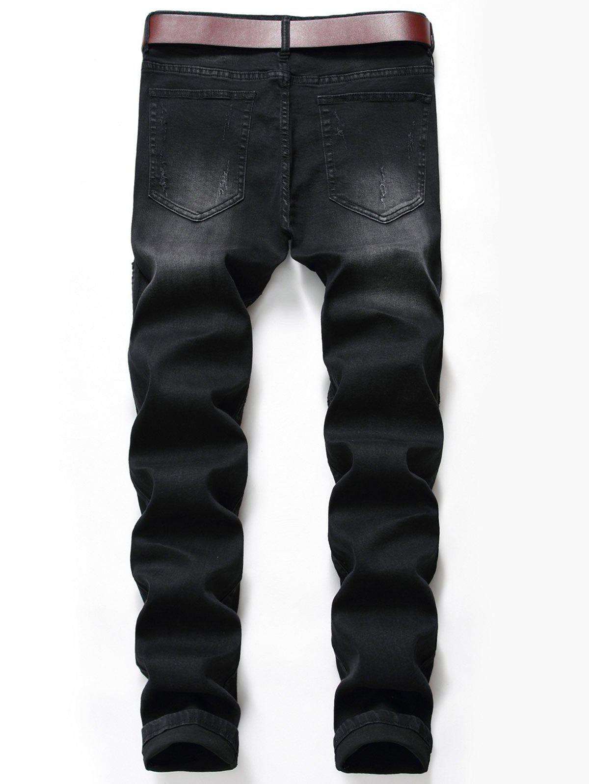 Slim Fit Zip Fly Ripped Biker Jeans - BLACK 30