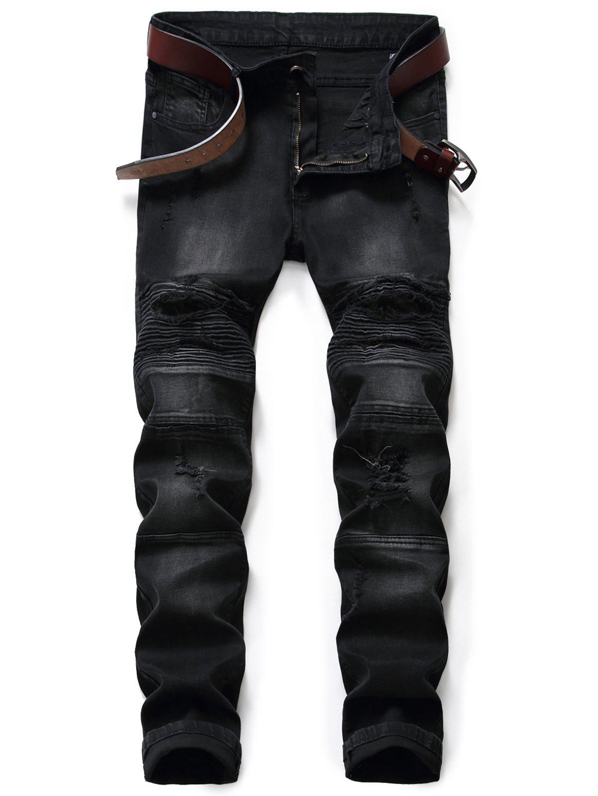 Slim Fit Zip Fly Ripped Biker Jeans fashion men s ripped skinny biker jeans destroyed frayed slim fit denim pants