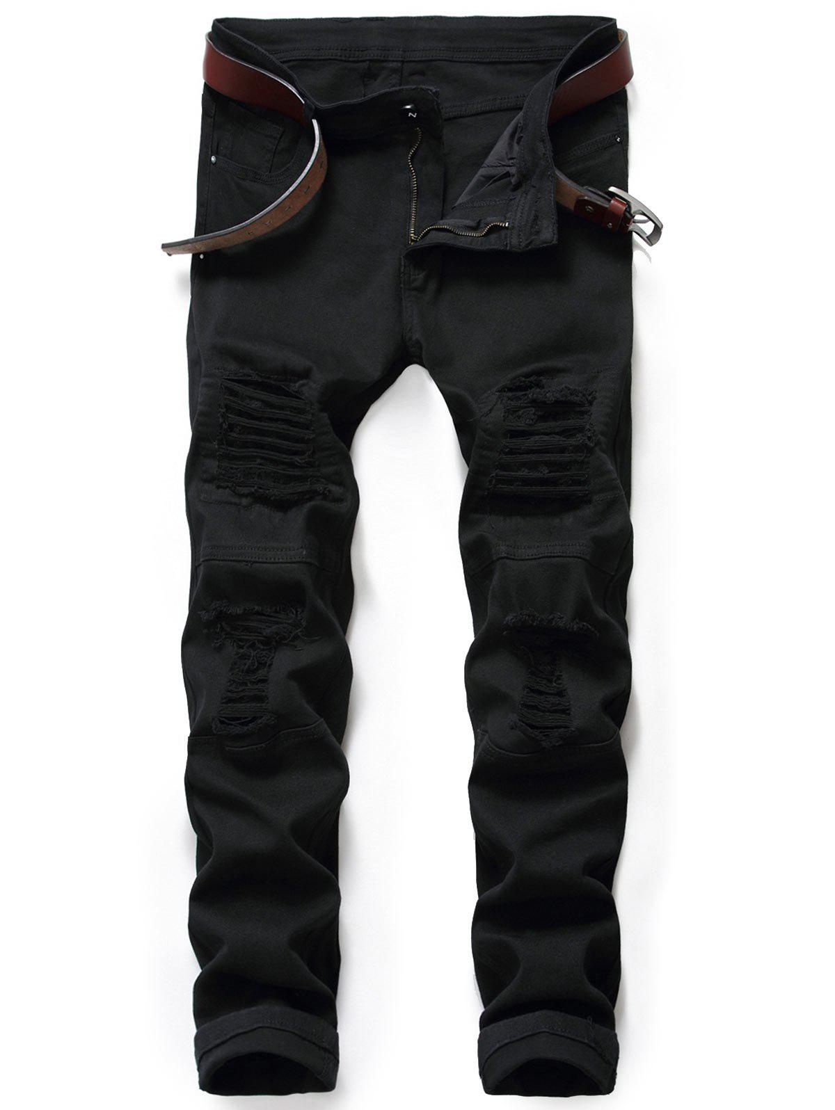 Zip Fly Destroyed Moto Jeans - BLACK 30