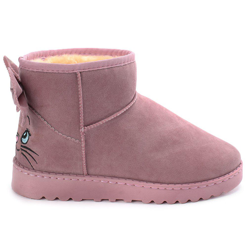 Cartoon Bow Stitching Snow Boots