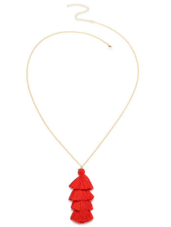 Collier superposé à pompon bohémien - Rouge
