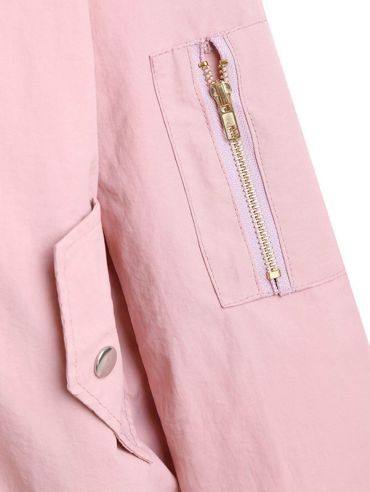 Plus Size Zipper Drop Shoulder Jacket - PINK 3XL