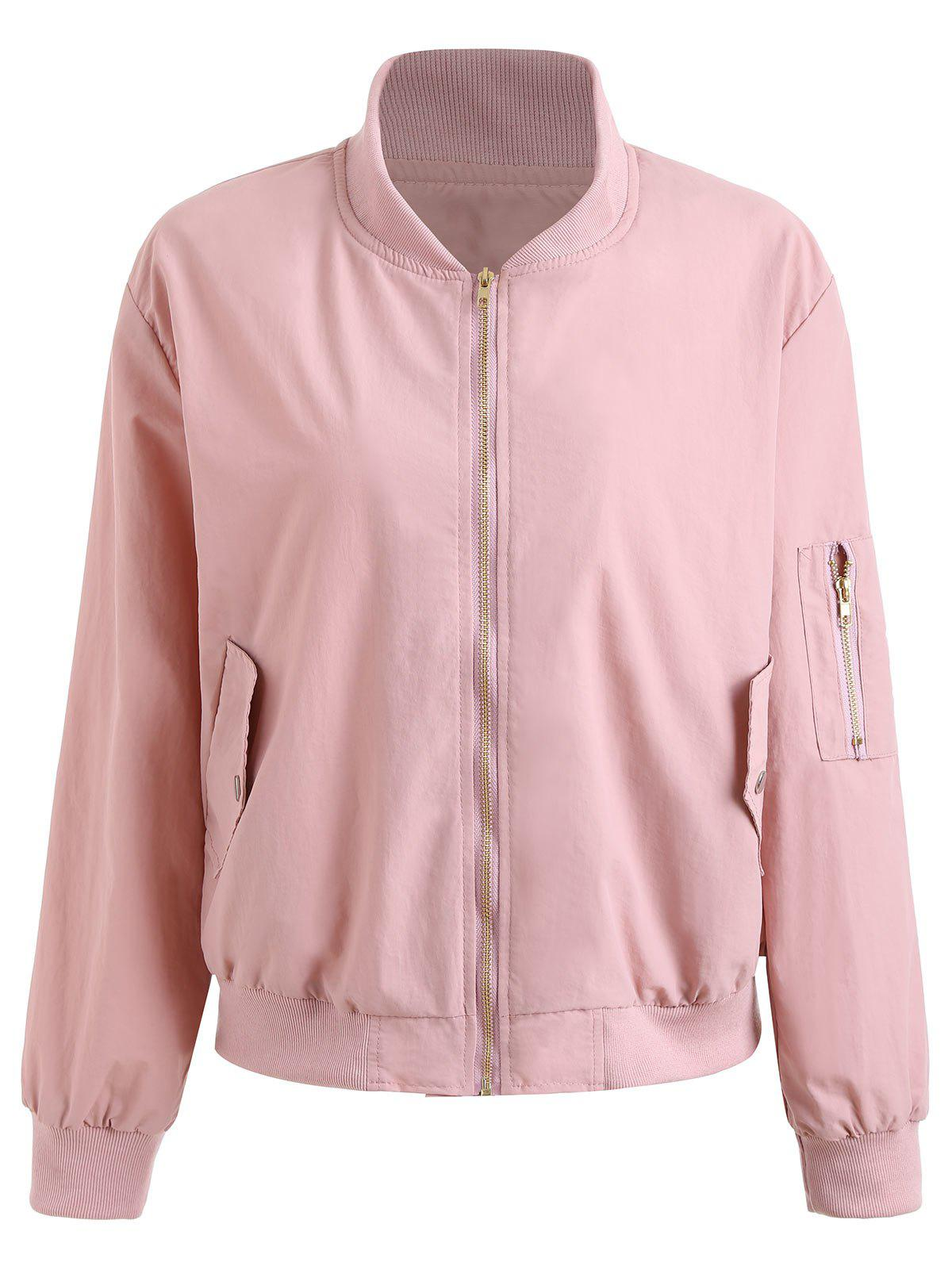 Plus Size Zipper Drop Shoulder Jacket - PINK 4XL