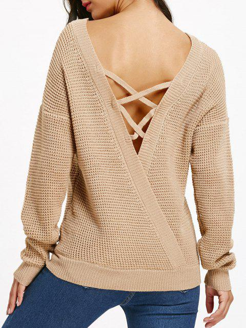 Sweat à épaules dénudées Criss Cross Backless Jumper - Camel Clair M