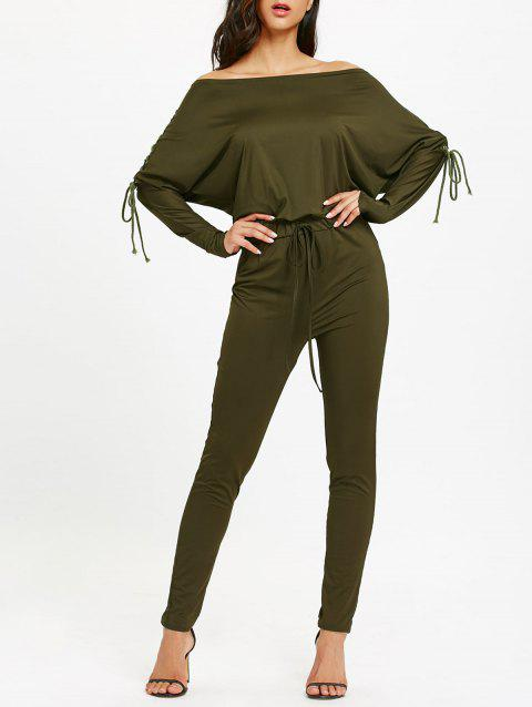 Off The Shoulder Lace-Up taille haute Jumpsuit - Vert Armée XL