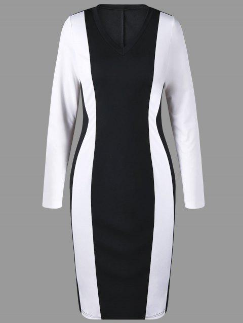 Two Tone V Neck Sheath Dress - WHITE/BLACK L
