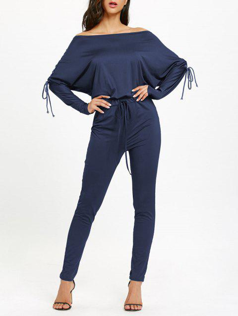Off The Shoulder Lace Up High Waist Jumpsuit - DEEP BLUE S