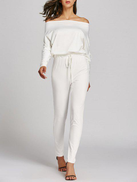 Off The Shoulder Lace Up High Waist Jumpsuit - WHITE S