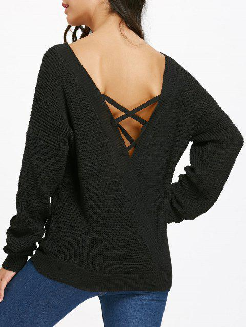 Drop Shoulder Criss Cross Backless Jumper Sweater - BLACK S