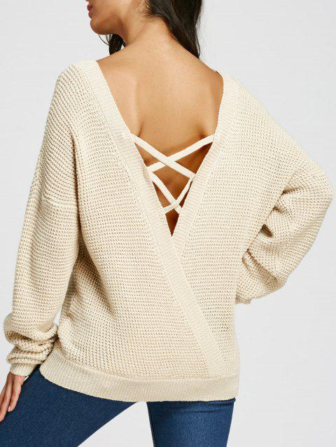 Sweat à épaules dénudées Criss Cross Backless Jumper - beige clair XL