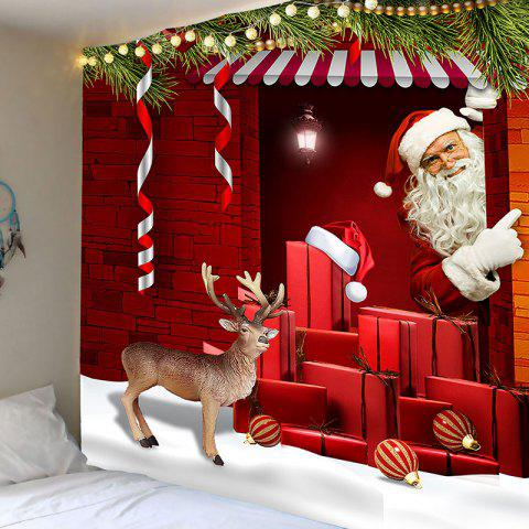 LIMITED OFFER] 2018 Red Santa Claus Printed Wall Art Tapestry In RED ...