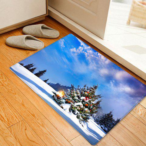 Christmas Tree Forest Pattern Indoor Outdoor Area Rug - BLUE W20 INCH * L31.5 INCH