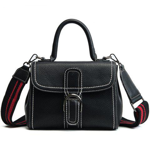 Buckle Strap Stitching PU Leather Handbag - BLACK