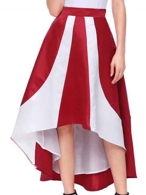 High Low Color Block Maix Skirt - RED M