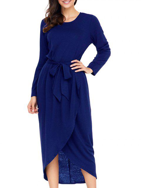 Long Sleeve Belted Tulip Dress - BLUE M