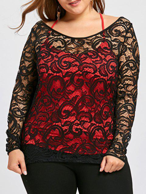 Plus Size Lace Blouse with Criss Cross Tank Top - BLACK XL