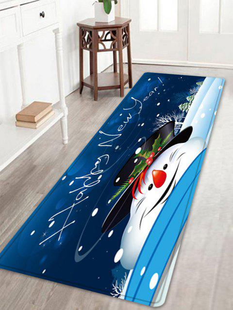 Happy New Year Snowman Pattern Indoor Outdoor Area Rug - BLUE W16 INCH * L47 INCH