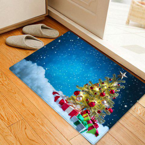Christmas Tree Presents Pattern Indoor Outdoor Area Rug - BLUE W16 INCH * L24 INCH