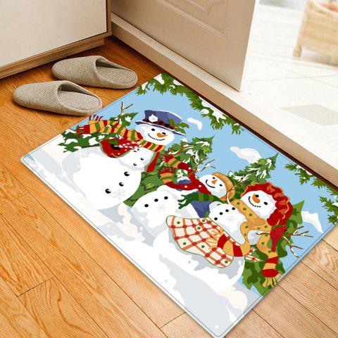 Christmas Snowmen Family Trees Pattern Indoor Outdoor Area Rug - COLORMIX W16 INCH * L24 INCH