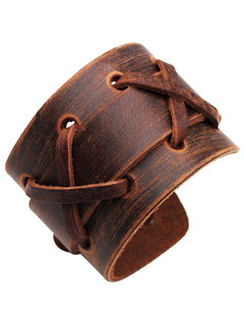 Vintage Punk Style Artificial Leather Wide Bracelet - BROWN