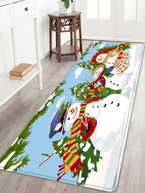 Christmas Snowmen Family Trees Pattern Indoor Outdoor Area Rug - COLORMIX W24 INCH * L71 INCH