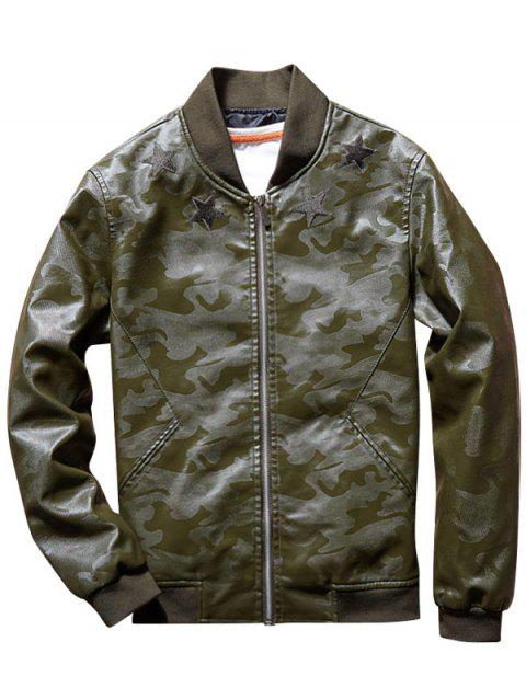Star Patch Camouflage Faux Leather Bomber Jacket - ARMY GREEN 2XL