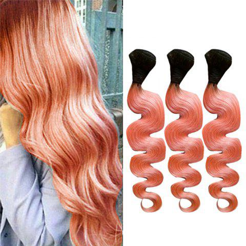 1Pc 7A Virgin Body Wave Chinese Human Hair Weaves - BLACK/PINK 22INCH