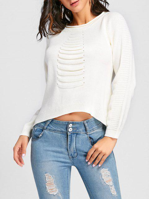 High Low Crew Neck Raglan Sleeve Sweater - WHITE ONE SIZE