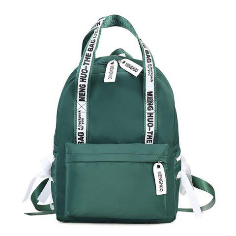 Ribbon Bowknot Letter Print Backpack - GREEN