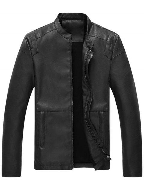 Full Zip Mandarin Collar Faux Leather Jacket - BLACK XL