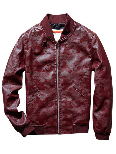 Star Patch Camouflage Faux Leather Bomber Jacket - WINE RED 2XL