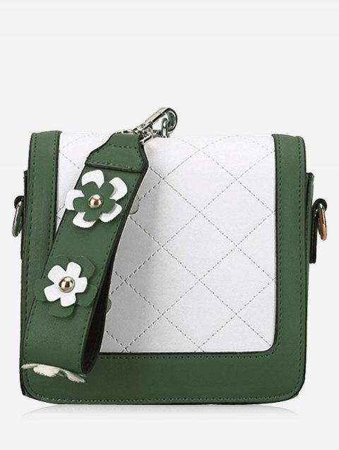 Color Blocking Quilted Flower Handbag - GREEN
