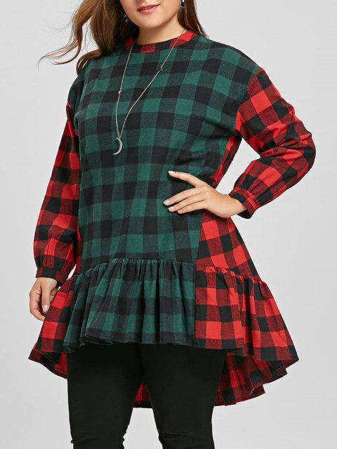 Plus Size Color Block Plaid Flounce Blouse - RED/GREEN ONE SIZE