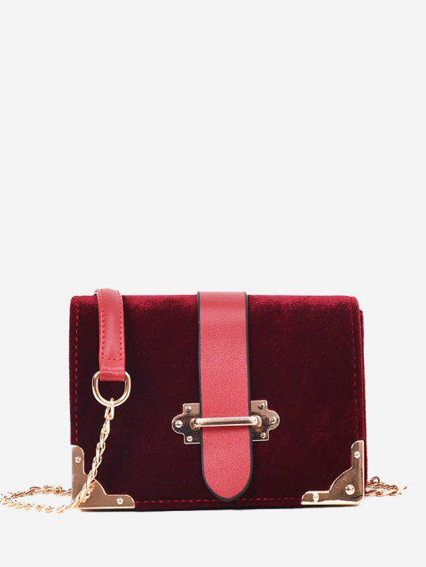 Metallic Chain Crossbody Bag - WINE RED