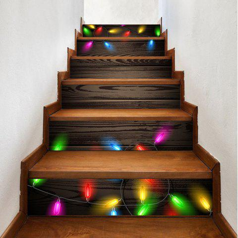 Christmas String Lights Woodgrain Pattern Stair Stickers - COLORMIX 100*18CM*6PCS