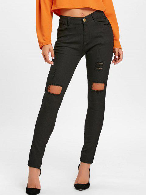 Skinny High Waisted Ripped Pants - BLACK S
