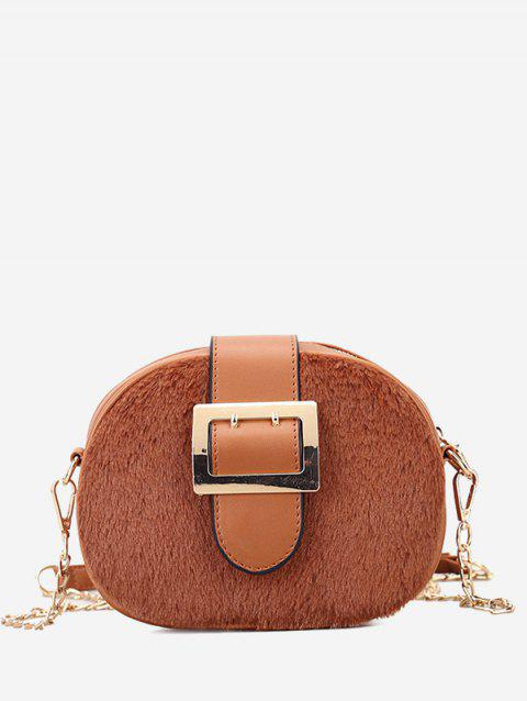 Buckle Strap Chain Crossbody Bag - BROWN