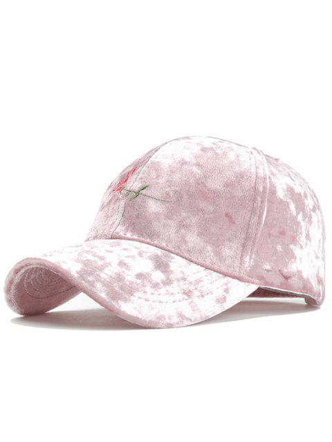 Rose Embroidered Embellished Suede Graphic Hat - PINK