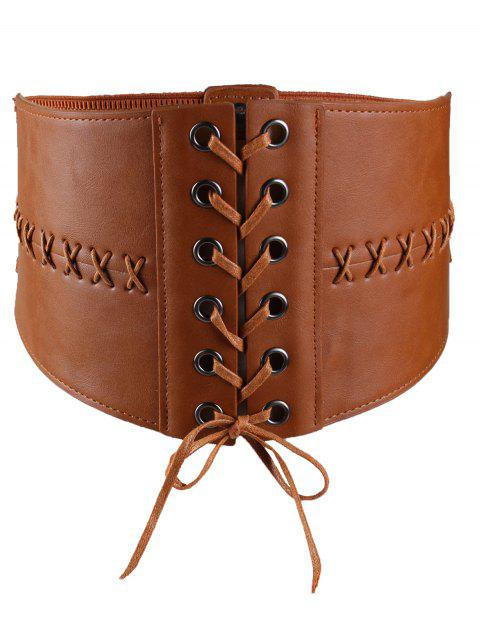 Vintage PU Leather High Waist Corset Belt - CHOCOLATE