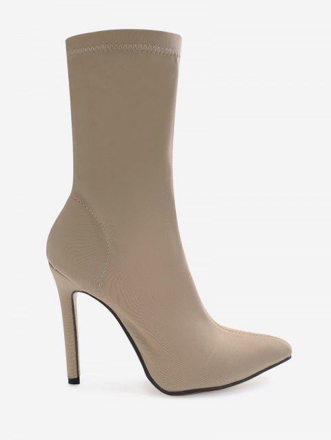 Point Toe High Heel Stretch Ankle Boots - APRICOT 39