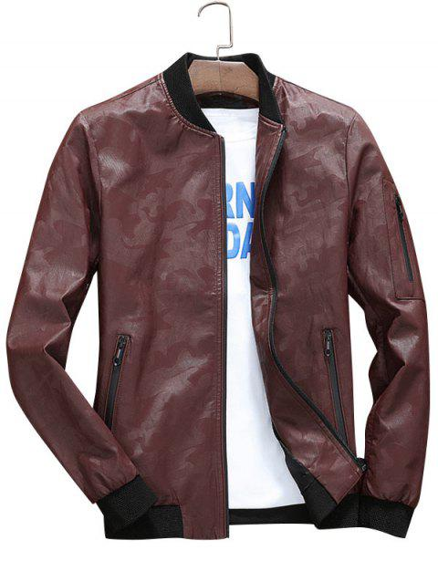 Zip Up Faux Leather Camouflage Bomber Jacket - CLARET 3XL