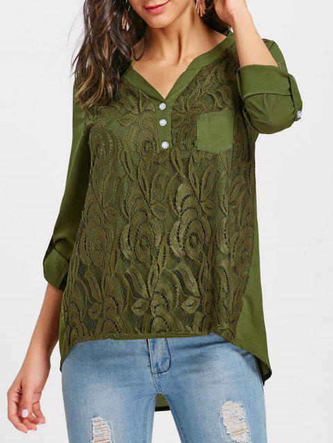 V-neck Lace Buttoned Blouse - ARMY GREEN S