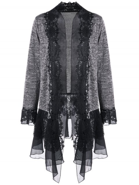 Plus Size Open Front Lace Trimmed Cardigan - GRAY 5XL