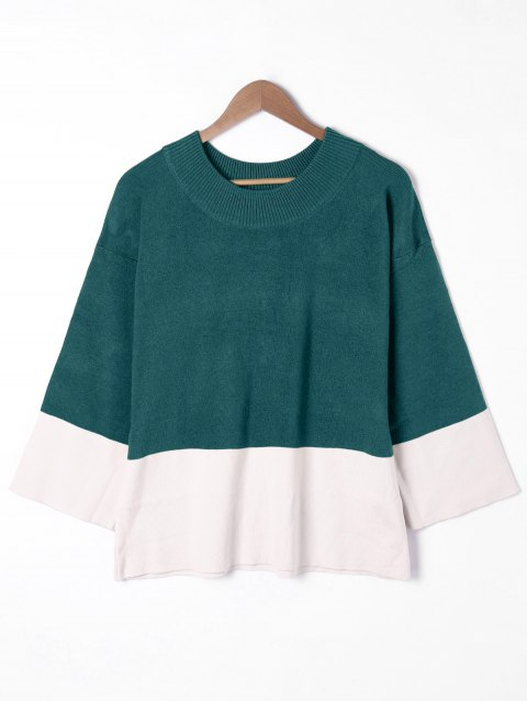 Plus Size Wide Sleeve Two Tone Sweater - OLIVE GREEN 4XL