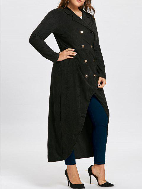 Double Breast Plus Size Maxi High Low Coat - BLACK 2XL