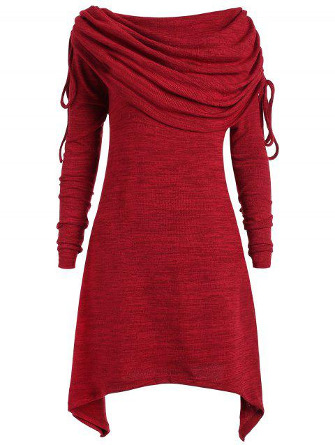 Plus Size Ruched Long Foldover Collar Top - WINE RED L